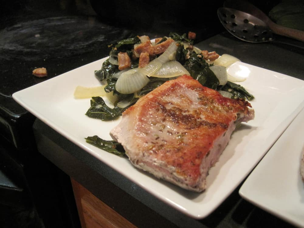 Sous Vide Pork Chops Recipe with Kale - Amazing Food Made Easy